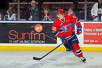 KELOWNA, BC - MARCH 13: Erik Atchison #12 of the Spokane Chiefs warms up on the ice against the Spokane Chiefs at Prospera Place on March 13, 2019 in Kelowna, Canada. (Photo by Marissa Baecker/Getty Images)