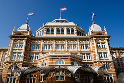 Exterior facade of the famous old Kurhaus Hotel in Scheveningen outside The Hague in Holland