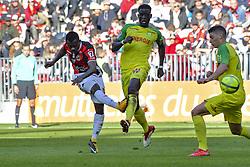 February 18, 2018 - France - Jean Michael Seri (OGC Nice) - Abdoulaye Toure (FC Nantes) - Andrei Girotto  (Credit Image: © Panoramic via ZUMA Press)