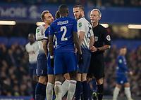 Football - 2018 / 2019 EFL Carabao Cup (League Cup) - Semi-Final, Second Leg: Chelsea (0) vs. Tottenham Hotspur (1)<br /> <br /> Tempers flare as Eric Dier (Tottenham FC)  glares at Antonio Rudiger (Chelsea FC) after David Luiz (Chelsea FC) was fouled at Stamford Bridge <br /> <br /> COLORSPORT/DANIEL BEARHAM