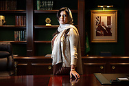 CLIENT: POLITICO<br /> <br /> Princess Reema bint Bandar Al Saud, Saudi Arabia's first female ambassador to the U.S., in her office at the Embassy of Saudi Arabia in Washington, D.C. She is the daughter of the kingdom's longtime ambassador to Washington, Bandar bin Sultan Al Saud, pictured behind, who served from from 1983 to 2005.