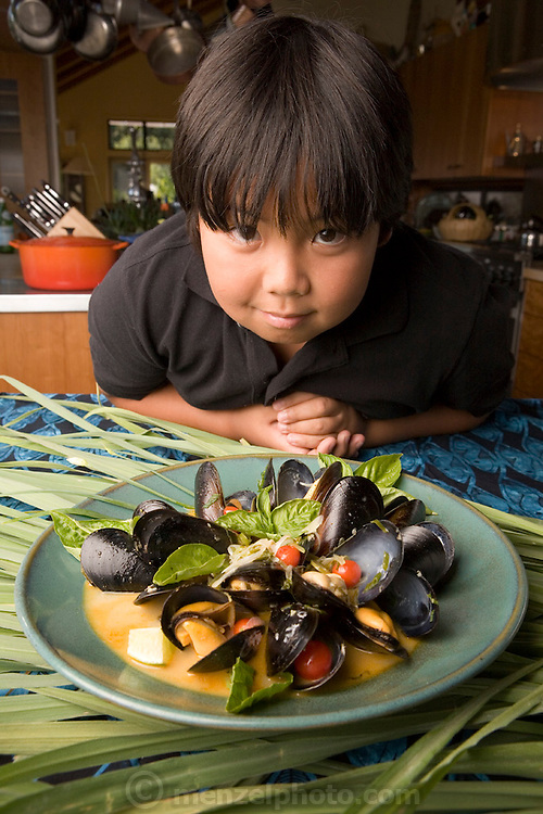Fresh mussel dish with lemon grass and coconut milk prepared by chef Cindy Pawlcyn for her Go Fish restaurant in the Napa Valley.