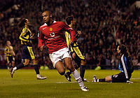 Photo. Jed Wee.Digitalsport<br /> Manchester United v Fenerbahce SK, UEFA Champions League, 28/09/2004.<br /> Manchester United's David Bellion celebrates after scoring as Fenerbahce are shell-shocked at conceding six.