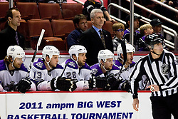 Bench of Los Angeles Kings and Head Coach Terry Murray during ice-hockey match between Anaheim Ducks and Los Angeles Kings in NHL league, Februar 23, 2011 at Honda Center, Anaheim, USA. (Photo By Matic Klansek Velej / Sportida.com)