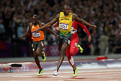 during the final of the men's 100m held at the Olympic Stadium in Olympic Park in London as part of the London 2012 Olympics on the 5th August 2012..Photo by Ron Gaunt/SPORTZPICS