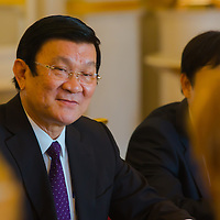 Truong Tan Sang president of Vietnam and his Hungarian counterpart Janos Ader (not in picture) talk during their meeting in Budapest, Hungary on September 16, 2013. ATTILA VOLGYI<br /> Truong Tan Sang and his wife are on a three day visit in Hungary.