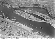 """Ackroyd 08427-8. """"Commission of Public Docks. Terminal #1 & Swan Island. July 7, 1958"""" (5x7"""") (lower right on west bank is Terminal 2, West Coast Terminal, SP&S Lake Yard and turntable, Waterways terminal - now Georgia Pacific, Gunderson. Above is Swan Island and Mocks Bottom.)"""
