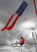 HUMBLE, TX - JUNE 24, 2011: A senior citizen participates in the pole vaulting competition during the National Senior Games in Humble, Texas on June 24, 2011. (Photo by Suzanne Tylander ©2011)