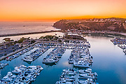 Aerial Photo of Dana Point Harbor West Basin at Sunset