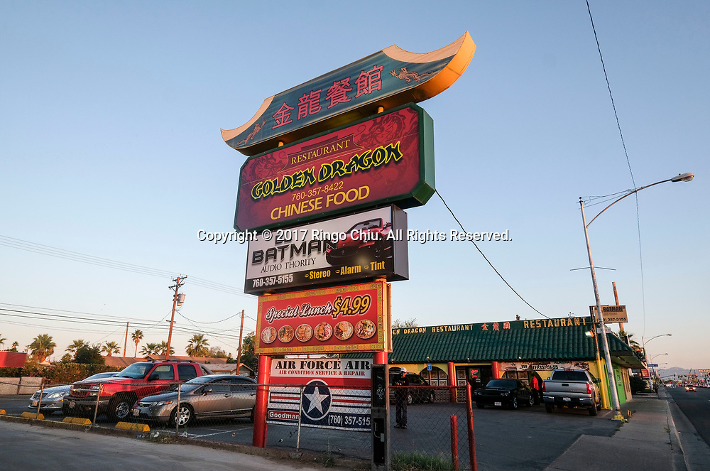 A Chinese restaurant in Calexico (the US and Mexico border), California on Wednesday April 19, 2017. (Xinhua/Zhao Hanrong)