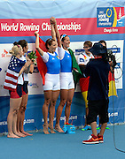 Chungju, South Korea.  Lightweight women's double sculls medals, Middle Gold medalist.  ITA LW2X. Bow. Laura MILANI and Elisabetta SANCASSANI, left Silver medalist, USALW2X. Kristin HEDSTROM and  Kathleen BERTKO. right Bronze medalist. GER LW2X.  Lena MUELLER and Anja NOSKE. 2013 FISA World Rowing Championships, Tangeum Lake International Regatta Course.16:15:37  Saturday  31/08/2013 [Mandatory Credit. Peter Spurrier/Intersport Images]