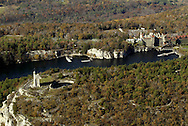 Times Herald-Record/TOM BUSHEY.Sky Top tower, at left, Mohonk Lake and the Mohonk Mountain House, at right..Oct. 30, 2003.