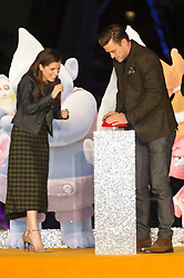 © Licensed to London News Pictures. 29/09/2016. A NNA KENDRICK and JUSTIN TIMBERLAKE arrive for the lighting of The London Eye to celebrate the animation film Trolls. London, UK. Photo credit: Ray Tang/LNP