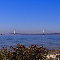 """The Straits of Mackinac""<br /> <br /> Mackinac Bridge on the Straits of Mackinac, as viewed from McGulpin Point."