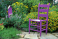 63821-10708 Purple Chair & Butterfly House in flower garden  Marion Co. IL