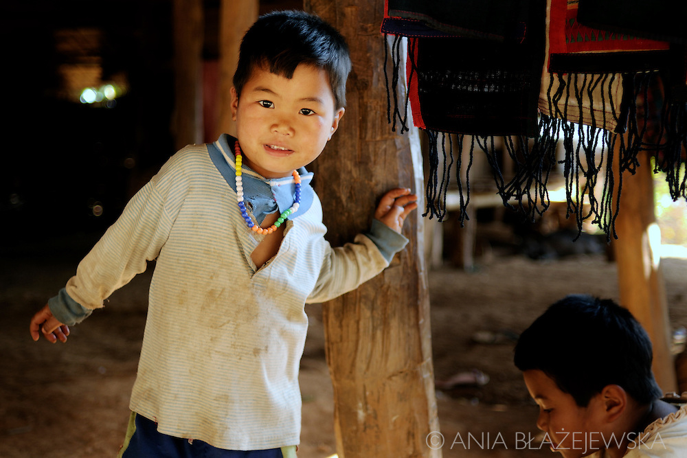 Burma, Myanmar. Akha children in one of villages near Kentung.