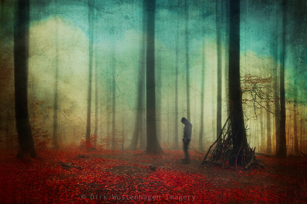 Man standing in a forest scenery on an autumn morning - manipulated photograph