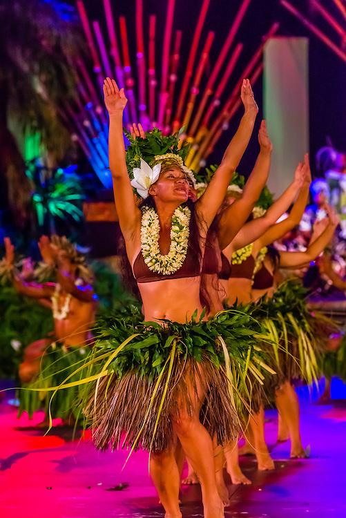 Tahina no Uturoa dance group performing during  the Winners Showcase, the final night of Heiva i Tahiti (July cultural festival), Place Toata, Papeete, Tahiti, French Polynesia.