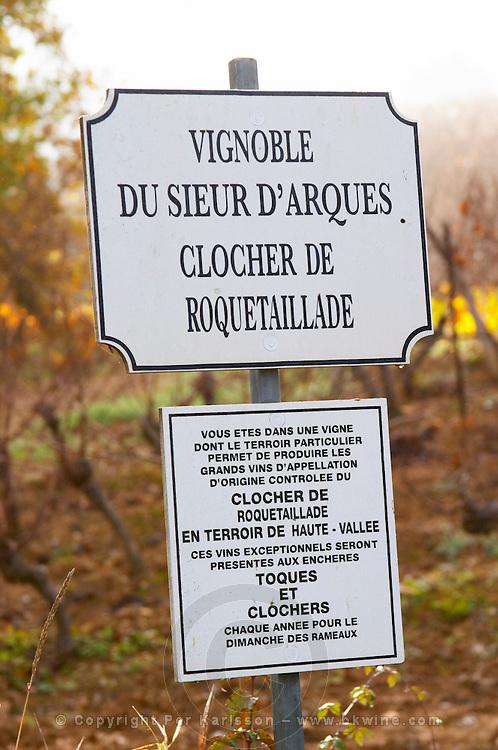 Clocher du Roquetaillade, Toques et Clochers. Sieur D'Arques Aimery cooperative co-operative. Limoux. Languedoc. France. Europe.