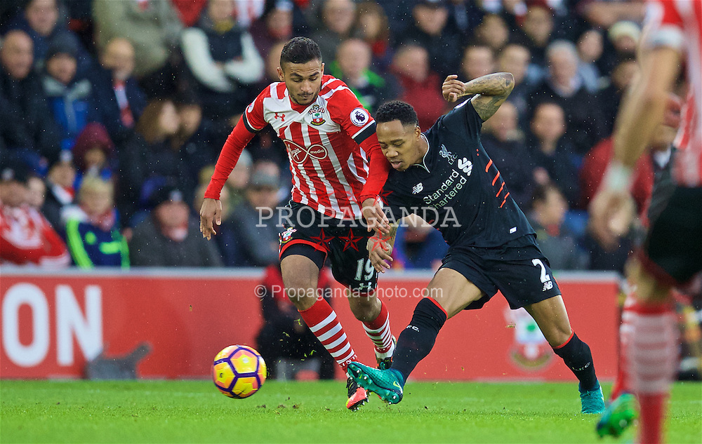 SOUTHAMPTON, ENGLAND - Saturday, November 19, 2016: Liverpool's Nathaniel Clyne in action against Southampton's Sofiane Boufal during the FA Premier League match at St. Mary's Stadium. (Pic by David Rawcliffe/Propaganda)