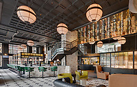 Architectural interior of 1st floor lounge in Norfolk VA Hilton Hotel by Jeffrey Sauers of Commercial Photographics, Architectural Photo Artistry in Washington DC, Virginia to Florida and PA to New England