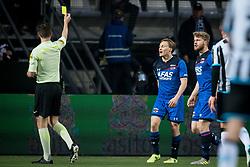 (L-R) referee Jochem Kamphuis, Jonas Svensson of AZ during the Dutch Eredivisie match between Heracles Almelo and AZ Alkmaar at Polman stadium on April 13, 2018 in Almelo, The Netherlands