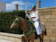Royal Guard on horseback at the Mausoleum of Mohammed V, Royal Palace, Rabat, Morocco
