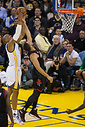Golden State Warriors forward David West (3) grabs a rebound against the Houston Rockets at Oracle Arena in Oakland, Calif., on March 31, 2017. (Stan Olszewski/Special to S.F. Examiner)