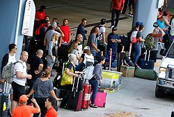 View of people who just arrived bringing supplies for their families at the Luis Marin Muñoz airport in San Juan as the airport's conditions improves after Hurricane Maria, (category 4) passed through Puerto Rico devastating the island leaving residents without power on Sept 20. on October 02, 2017. Photo by Pedro Portal/Miami Herald/TNS/ABACAPRESS.COM