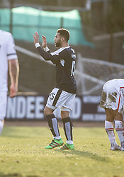 Dundee's Kane Hemmings celebrates after scoring their goal. <br /> Dundee 1 v 1 Inverness Caledonian Thistle, SPFL Ladbrokes Premiership game played at Dens Park, 27/2/2016.