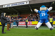 Haydon the Womble jumping in front of AFC Wimbledon stand and sign during the EFL Sky Bet League 1 match between AFC Wimbledon and Lincoln City at the Cherry Red Records Stadium, Kingston, England on 2 November 2019.
