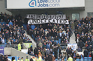 Brighton fans celebrate 20 years of Fans United movement during the EFL Sky Bet Championship match between Brighton and Hove Albion and Burton Albion at the American Express Community Stadium, Brighton and Hove, England on 11 February 2017.