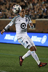 October 7, 2017 - Minneapolis, MN, USA - Minnesota United midfielder Miguel Ibarra tries to settle the ball in the first half against Sporting Kansas City on Saturday, Oct. 7, 2017, at TCF Bank Stadium in Minneapolis. The teams tied, 1-1. (Credit Image: © Anthony Souffle/TNS via ZUMA Wire)