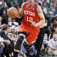 21 May 2012: Philadelphia Sixers shooting guard Evan Turner (12) brings the ball upcourt during the Boston Celtics 101-85 victory over the Philadelphia Sixer, in Game 5 of the Eastern Conference semifinals playoff series, at the TD Banknorth Garden, Boston, Massachusetts, USA.