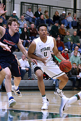 07 January 2017:   Ricky Samuelson and Miles Curry during an NCAA men's division 3 CCIW basketball game between the Wheaton Thunder and the Illinois Wesleyan Titans in Shirk Center, Bloomington IL