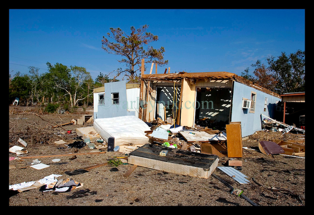 3rd November, 2005. The remains of debris strewn Oak Grove trailer park in Saint Bernard parish just south of New Orleans. Hurricane Katrina caused a 20ft tidal surge to sweep over the land, devastating much of the parish.