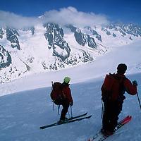 Haute Route skiers (MR) above Argentiere Glacier, at start of journey to Zermatt.