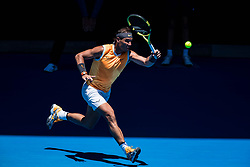 January 14, 2019 - Melbourne, VIC, U.S. - MELBOURNE, VIC - JANUARY 14:  RAFAEL NADAL (ESP) during day one match of the 2019 Australian Open on January 14, 2019 at Melbourne Park Tennis Centre Melbourne, Australia (Photo by Chaz Niell/Icon Sportswire) (Credit Image: © Chaz Niell/Icon SMI via ZUMA Press)