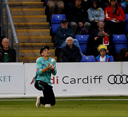 Surrey's Rory Burns takes the catch to remove Glamorgan's Graham Wagg<br /> <br /> Photographer Simon King/Replay Images<br /> <br /> Vitality Blast T20 - Round 14 - Glamorgan v Surrey - Friday 17th August 2018 - Sophia Gardens - Cardiff<br /> <br /> World Copyright © Replay Images . All rights reserved. info@replayimages.co.uk - http://replayimages.co.uk