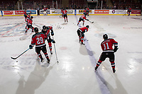 KELOWNA, CANADA - DECEMBER 7:  The Kelowna Rockets warm up with some stick handling drills against the Victoria Royals on December 7, 2018 at Prospera Place in Kelowna, British Columbia, Canada.  (Photo by Marissa Baecker/Shoot the Breeze)