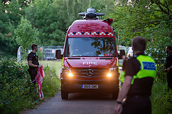 © Licensed to London News Pictures. 23/06/2020. Cookham, UK. An incident responce unit departs the scene close to the River Thames. A search and rescue operation was launched Tuesday evening after reports that several people, believed to be refugees from Syria, got into difficulties, it is understood that one person was rescued and transferred to hospital and one person remained unaccounted for. Multiple emergency resources were deployed to the scene, close to Odney Common in Cookham, including lowland search and rescue teams. Photo credit: Peter Manning/LNP