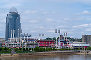 View of the Cincinnati Riverfront and Great American Ballpark from the Roebling Bridge over the Ohio River; Cincinnati, Ohio.