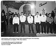 Valet Parking staff outside Chasens. Beforer Ronald Reagan's 85 th birthday. West Hollywood. Los Angeles. 1996. Film. 9630/16<br />© Copyright Photograph by Dafydd Jones<br />66 Stockwell Park Rd. London SW9 0DA<br />Tel. 0171 733 0108
