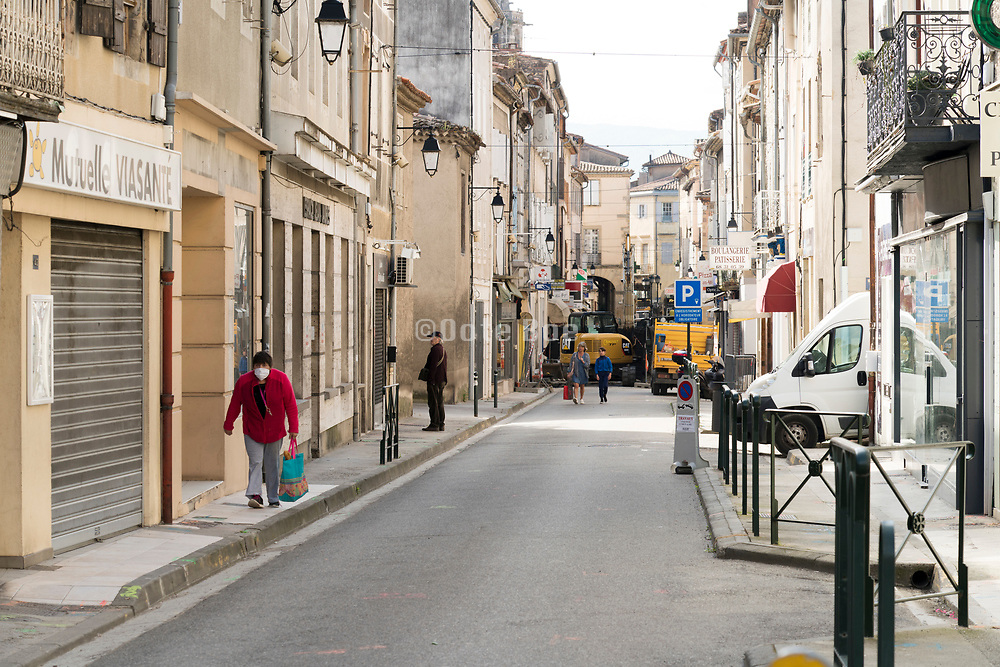 street scene during the Covid 19 crisis and lockdown France Limoux April 2020