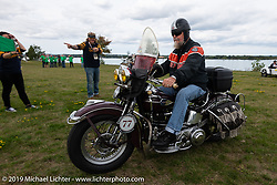 Brent Mayfield of Ohio heads out on his restored 1945 Harley-Davidson EL Knucklehead from Aune Osborne Park in Sault Sainte Marie, the site of the official start of the Cross Country Chase motorcycle endurance run from Sault Sainte Marie, MI to Key West, FL. (for vintage bikes from 1930-1948). Thursday, September 5, 2019. Photography ©2019 Michael Lichter.