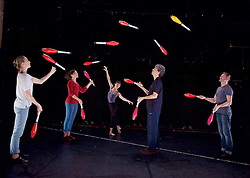 Gandini Juggling <br /> Meta <br /> at Jackson's Lane Theatre, London, Great Britain <br /> (new commission performance 21st to 25th Nov to celebrate the 40th Anniversary of Jackson's Lane Theatre).<br /> 19th November 2015 <br /> <br /> Sean Gandini <br /> with members of his company of jugglers and dancers.  <br /> <br /> <br /> <br /> <br /> Photograph by Elliott Franks <br /> Image licensed to Elliott Franks Photography Services