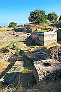 Walls and remains of buildings of the sanctuary of Troy, from Troia VIII & Troia IX period 700B.C to Hellenistic Ilium of 1st cent. B.C. Troy archaeological site, A UNESCO World Heritage Site, Turkey