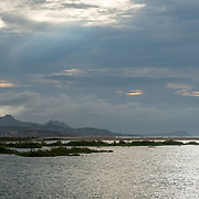 San Jose Estuary on a cloudy morning with the sun piercing through the clouds.