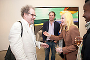 MIKE FIGGIS; PAM HOGG, David Salle private view at the Maureen Paley Gallery. 21 Herlad St. London. E2. <br /> <br />  , -DO NOT ARCHIVE-© Copyright Photograph by Dafydd Jones. 248 Clapham Rd. London SW9 0PZ. Tel 0207 820 0771. www.dafjones.com.