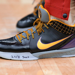 Jan 26, 2020; New Orleans, Louisiana, USA;  A detail of sneakers worn by New Orleans Pelicans guard Frank Jackson with a tribute inscription in tribute to former Los Angeles Lakers star Kobe Bryant whom died in a helicopter crash Sunday morning prior to tip off against the Boston Celtics at the Smoothie King Center. Mandatory Credit: Derick E. Hingle-USA TODAY Sports